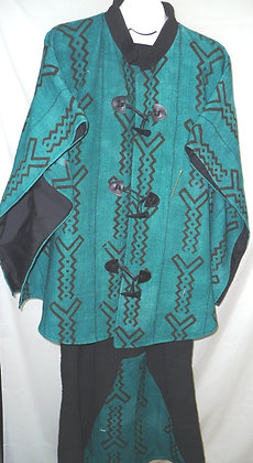 Turquoise & Black Mud Cloth Set