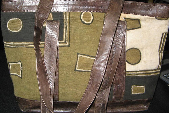 Mixed Leather & Cloth Bag