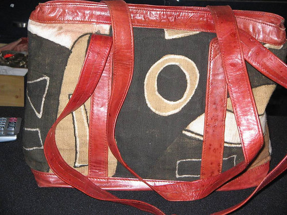 Leather Bag Mixed with Cloth