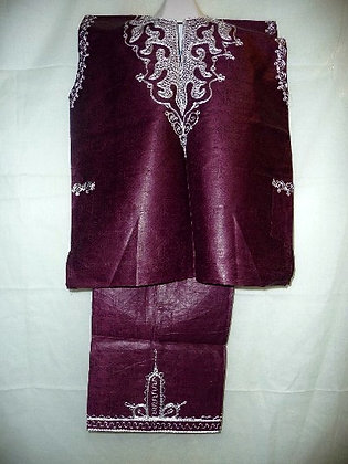 Purple Brocade with Silver Embroidery