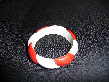 Wood White & Red Bracelet
