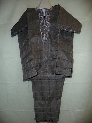 Gray Linen with White Embroidery