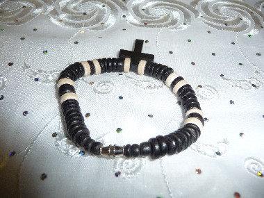 Black & Off-White Beads Bracelet