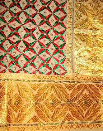 Gold, Red & Green George Fabric