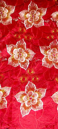 Burgundy & Peach Lace Fabric