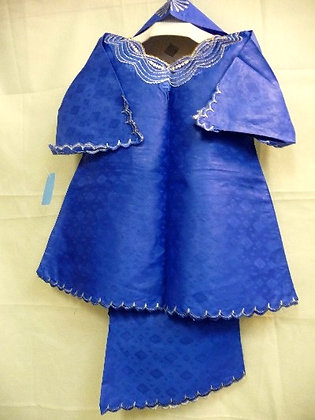 Blue Set with White Embroidery
