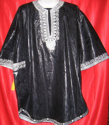 Black Dashiki with White Embroidery