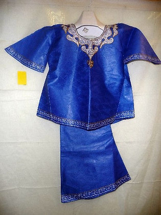 Blue Brocade with White & Silver Embroidery