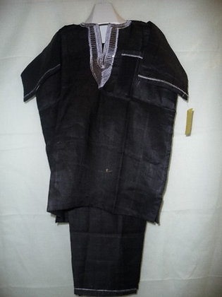 Black Linen Set with White Embroidery