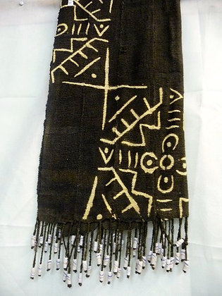 Black & White Mud Scarf with Beads