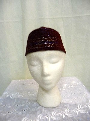 Burgundy Hat with Gold Thread