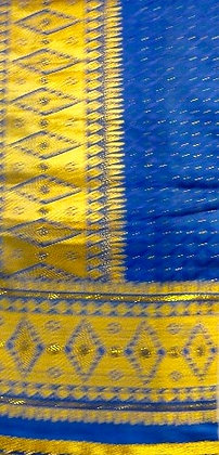 Blue George Fabric with Gold Metallic & Beads