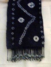 Indigo Mud Scarf with Beads