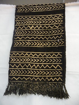 Black & White Mud Scarf with Fringes