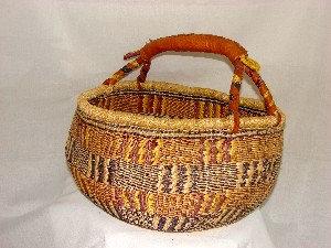 Straw & Leather Basket
