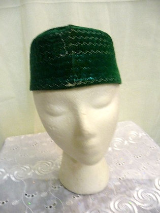 Green Hat with Gold Trim