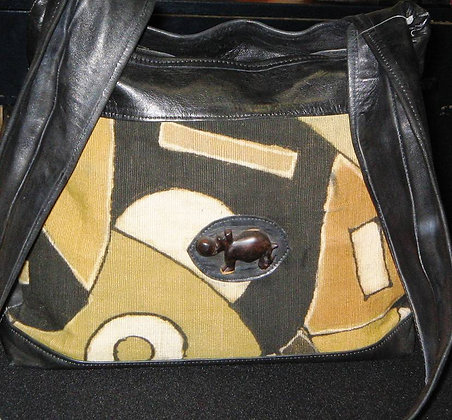 Mixed Mud Cloth & Leather Bag