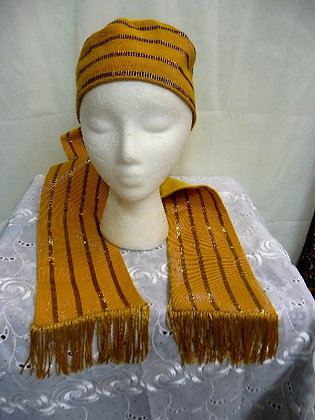 Gold & Burgundy Asoke Hat & Scarf Set
