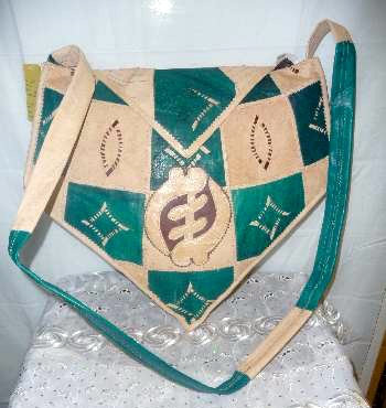 Green & Beige Leather Bag