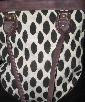 Black & White Leather and Mud Cloth Bag