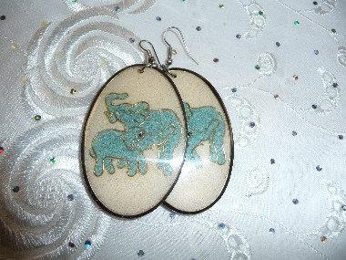 Wood Elephant Earrings