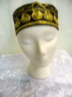 Black Hat with Gold Embroidery