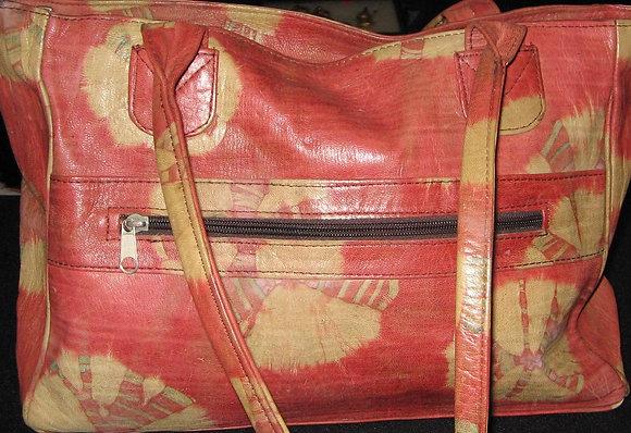 Burgundy & Beige Leather Bag