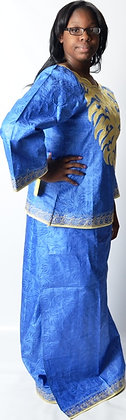 Blue Brocade with Beige Embroidery