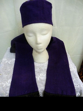Purple Mud Cloth Hat and Scarf Set
