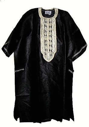 Black Brocade with White Embroidery