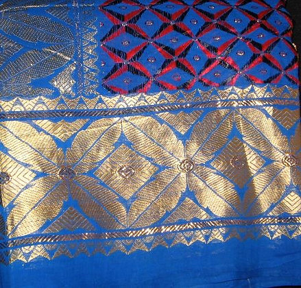 Blue, Red & Gold George Fabric