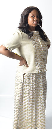 White & Gold African Print