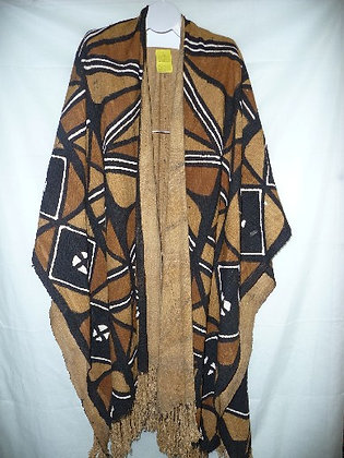 Mud Cloth Poncho with Front Button