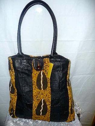 Mud Cloth & Leather Handbag