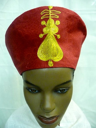 Red Crone with Gold Embroidery