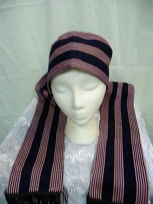 Pink & Navy Asoke Hat & Scarf Set