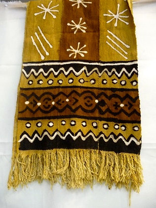 Large Mud Cloth Scarf with Fringes