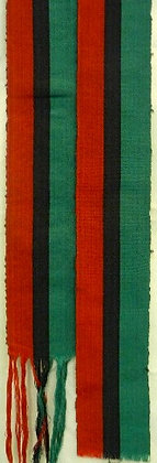 Green, Black & Red Scarf with Fringes