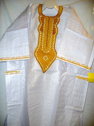 White 3-PC Set with Gold Embroidery