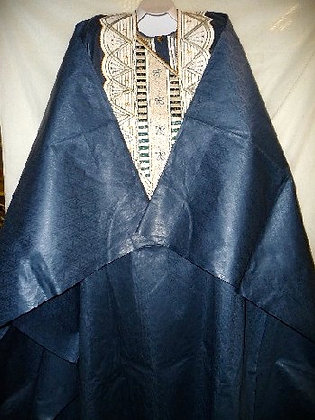 Blue & White Embroidered Grand Bubu
