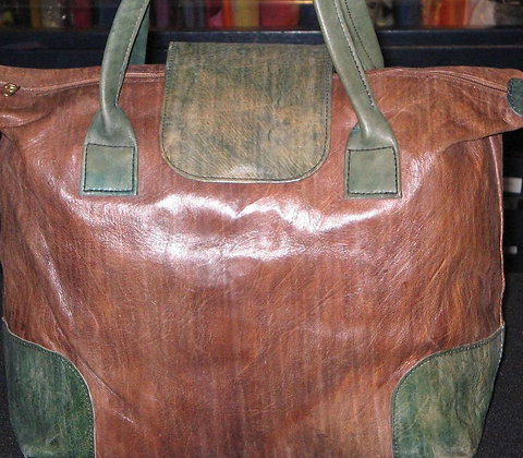 Green & Brown Leather Bag