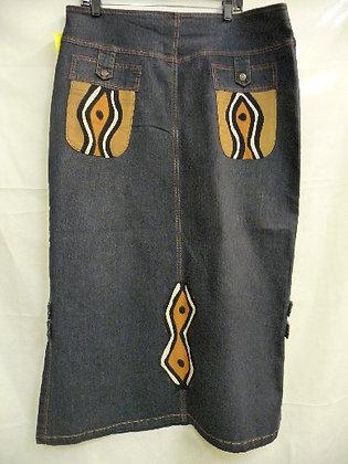 Mixed Blue Jean & Mud Print Skirt