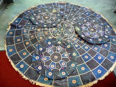 Blue & Black Leather Area Rug