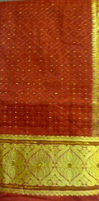 Red George Fabric with Gold Metallic