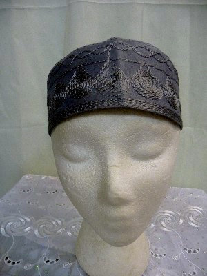 Gray Hat with Gray Embroidery