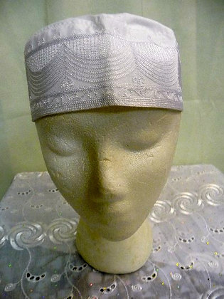 White Hat with White Embroidery