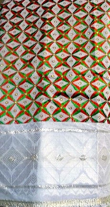 Silver, Red & Green George Fabric