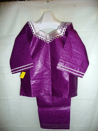 Purple Brocade with White & Silver Embroidery