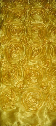 Yellow Fabric with Flowers