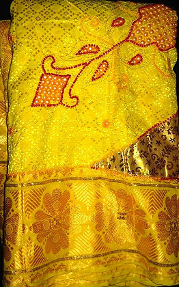 Yellow & Gold Beaded George Fabric